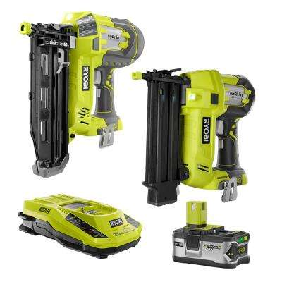 18-Volt ONE+ Lithium-Ion Cordless AirStrike 18-Gauge Brad and 16-Gauge Finish Nailer with (1) 4.0 Ah Battery and Charger