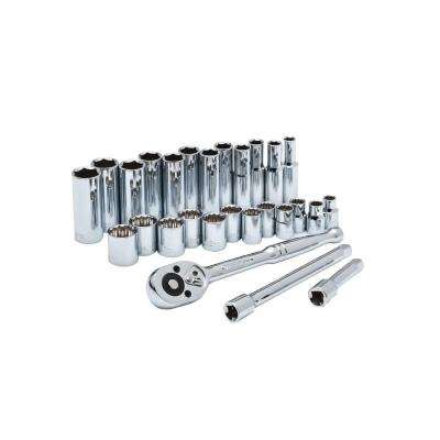 3/8 in. Drive 6 and 12 Point Metric Standard and Deep Socket Wrench Tool Set (27-Piece)