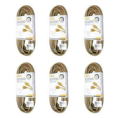 50 ft. 16/3 Indoor/Outdoor Landscape Extension Cord, Beige (6-Pack)