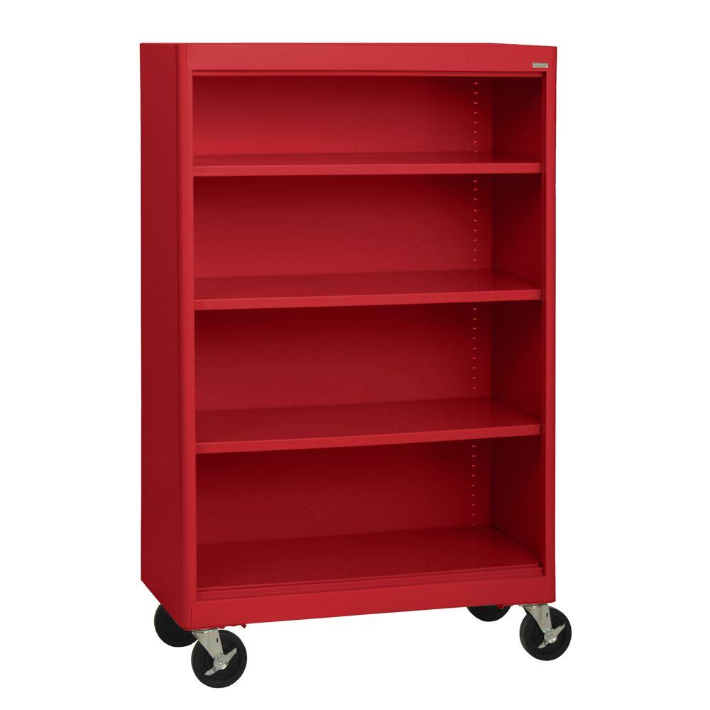 Superior Sandusky Radius Edge Red Mobile Steel Bookcase