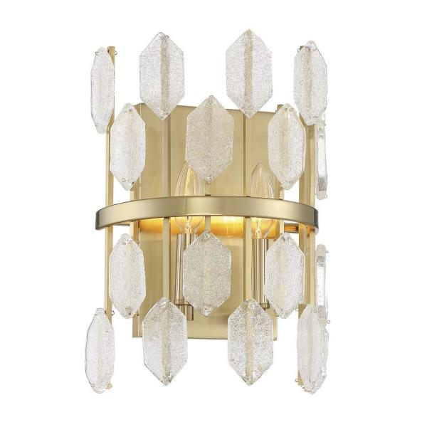 2-Light Noble Brass Sconce with Clear Glass