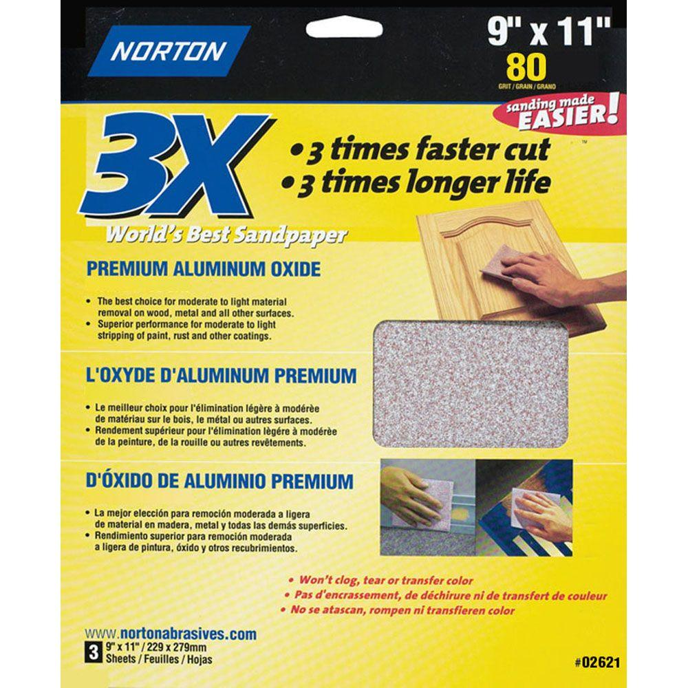 Norton 9 in. x 11 in. 80 Grit Coarse Sandpaper Sheets (60-Pack)-DISCONTINUED