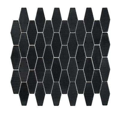 Carbon Hex 10-1/4 in. x 11-1/8 in. x 8 mm Glass Mosaic Tile