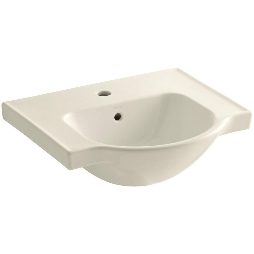 Veer 21 in. Vitreous China Pedestal Sink Basin in Almond with