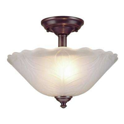 2-Light Rubbed Oil Bronze Semi-Flush Mount Light