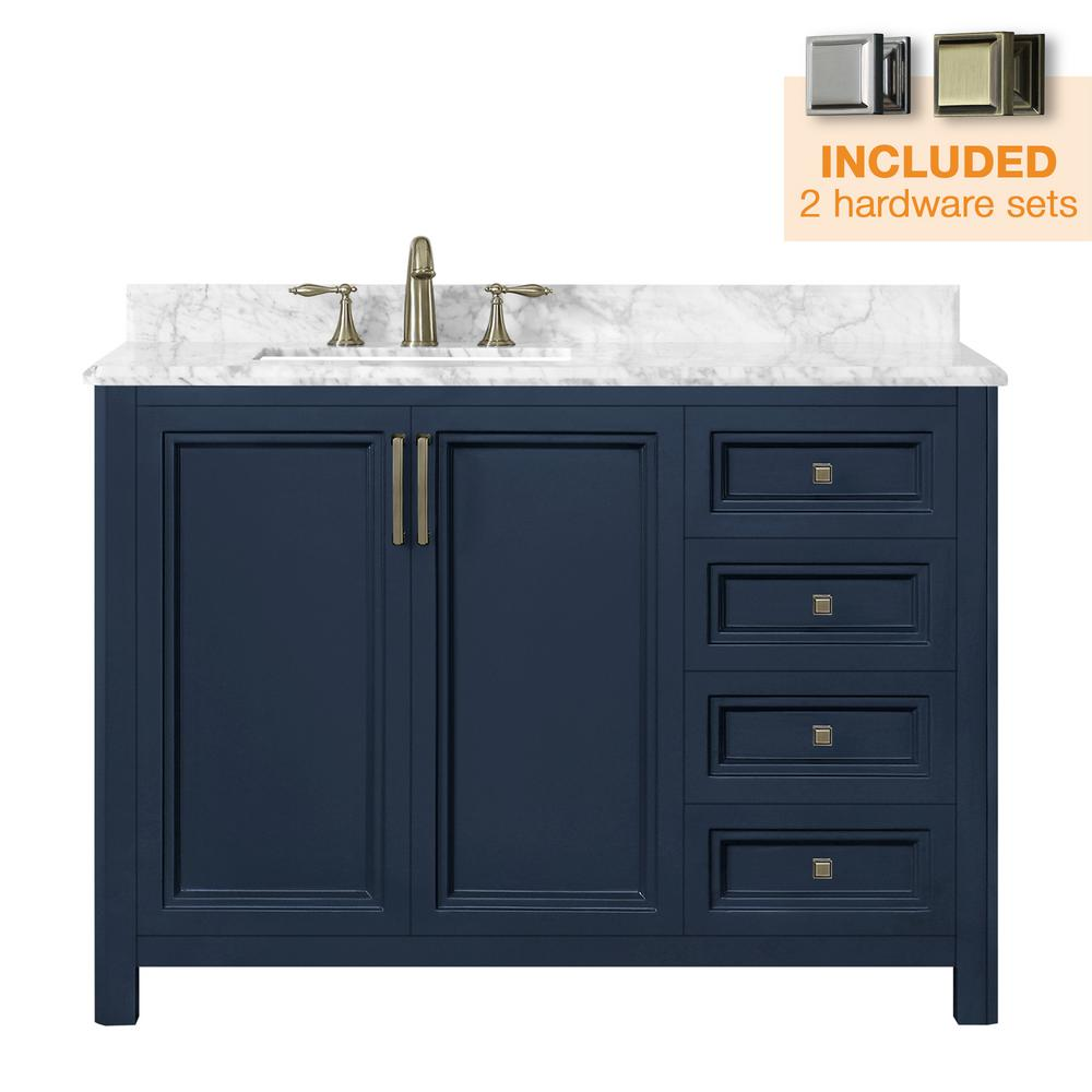 Home Decorators Collection Sandon 48 in. W x 22 in. D Bath Vanity in Midnight Blue with Marble Vanity Top in Carrara White with White Basin