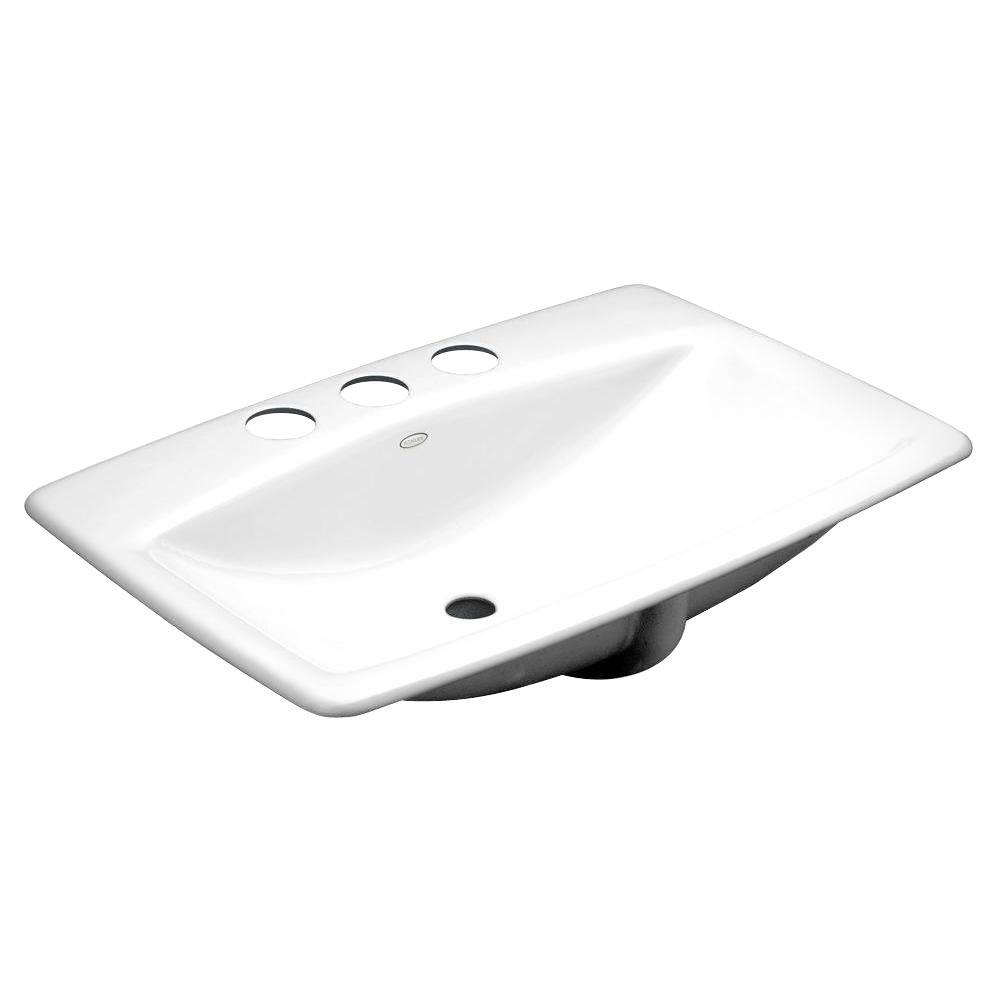 Man's Lav Vitreous China Undermount Bathroom Sink in White with Overflow