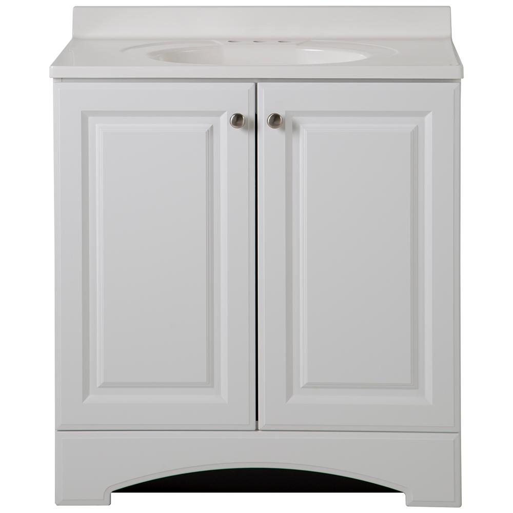 Glacier Bay 31 in. W Vanity in White with Cultured Marble Vanity Top in White
