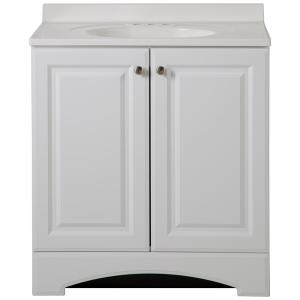 30.50 in. W Bath Vanity in White with Cultured Marble Vanity Top in White with White Basin