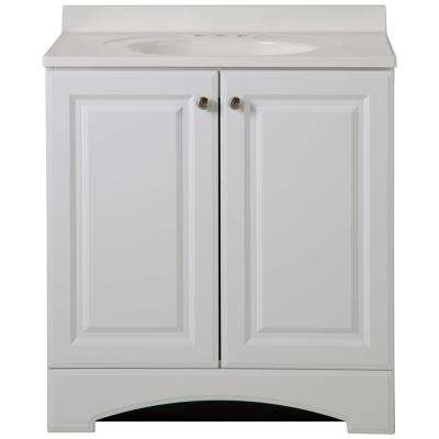 30-1/2 in. W Vanity in White with Cultured Marble Vanity Top in White