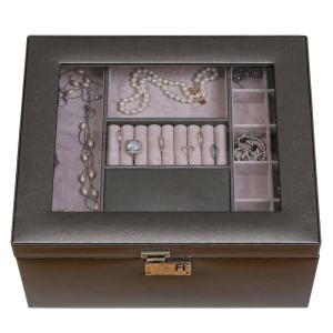 Mele Linden Pewter Faux Leather Jewelry Box0063260 The Home Depot