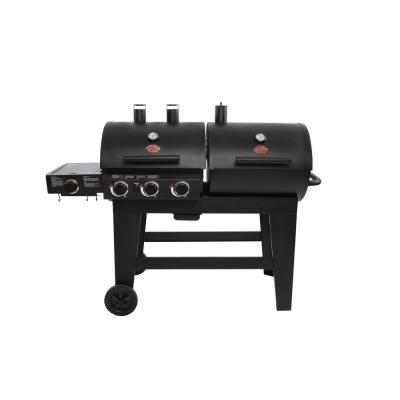 Double Play 1,260 sq., in. 3-Burner Gas and Charcoal Grill in Black