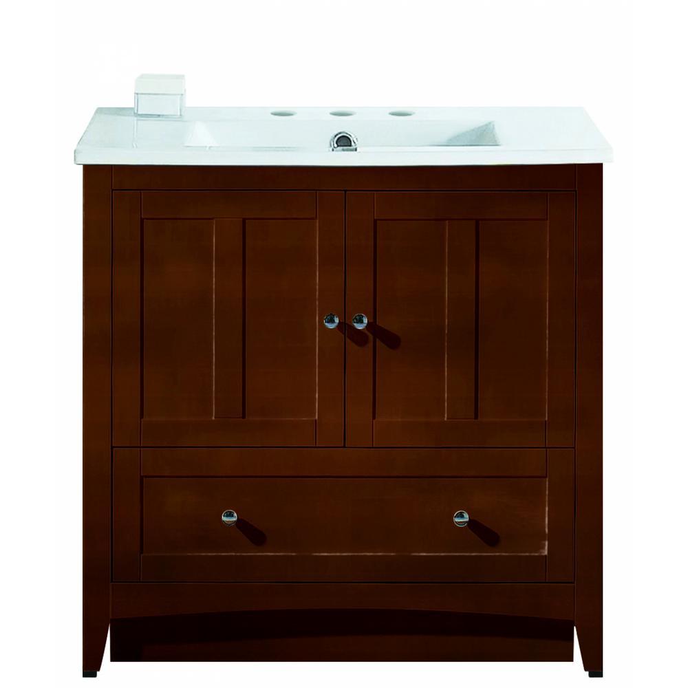 16-Gauge-Sinks 35.5 in. W x 18.25 in. D Vanity in Walnut with Ceramic Vanity Top in White with White Basin