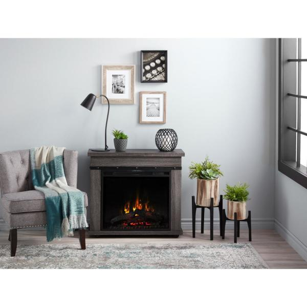 Morgan 29 in. Mantel with a 23 in. Electric Fireplace in Charcoal Oak