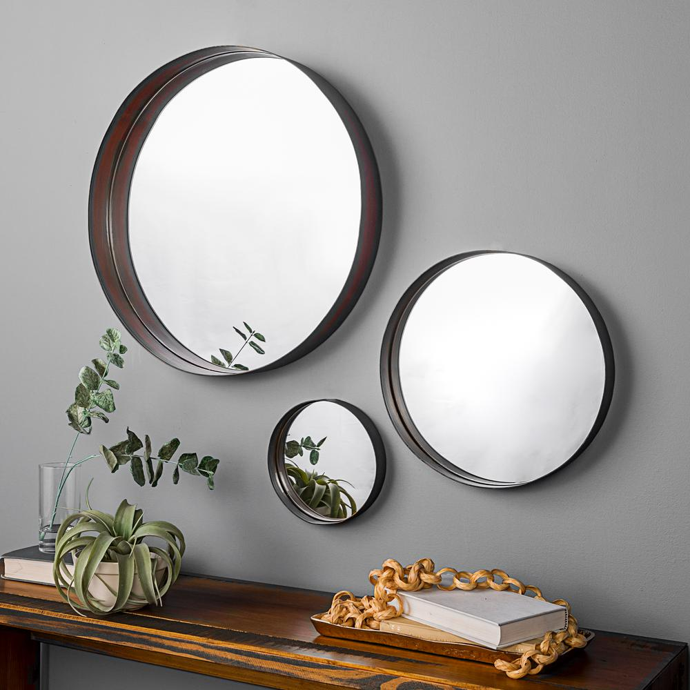 Walker Edison Furniture Company Banded Round Copper Mirrors Set Of 3