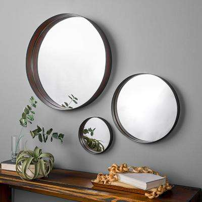 Banded Round Copper Mirrors (Set of 3)