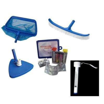 Deluxe Swimming Pool Kit - Vacuum Leaf Rake Brush Pole and Hose Hooks Thermometer and Test Kit (5-Piece)