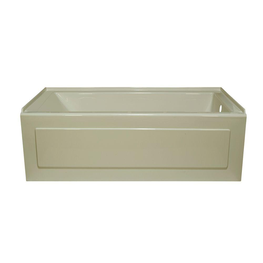 Lyons Industries Linear 5 ft. Right Drain Heated Soaking Tub in Biscuit
