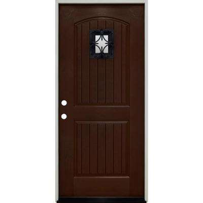 36 in. x 80 in. Oxford Speak Easy Right-Hand Inswing Chestnut Mahogany Fiberglass Prehung Front Door 4-9/16 Frame