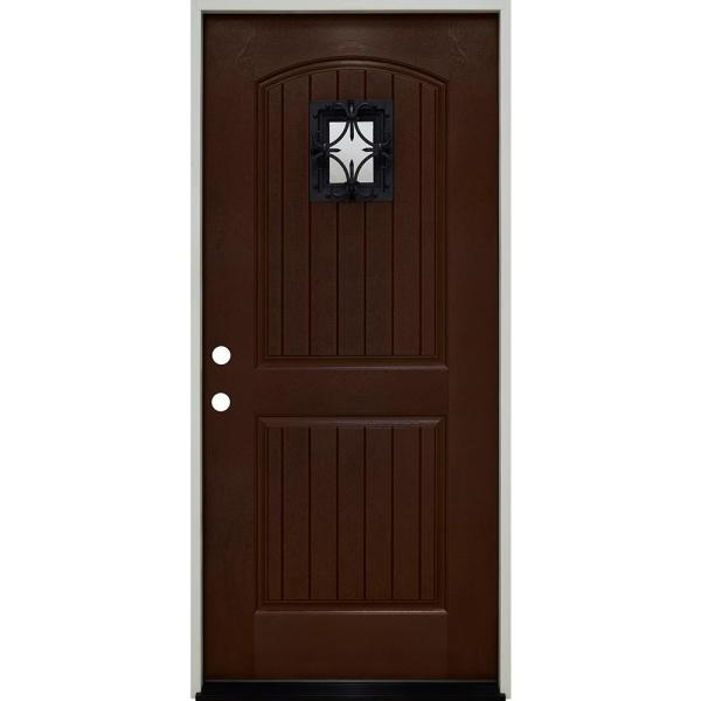 36 in. x 80 in. Oxford Speak Easy Right-Hand Inswing Chestnut Mahogany Fiberglass Prehung Front Door 4-9/16 Frame