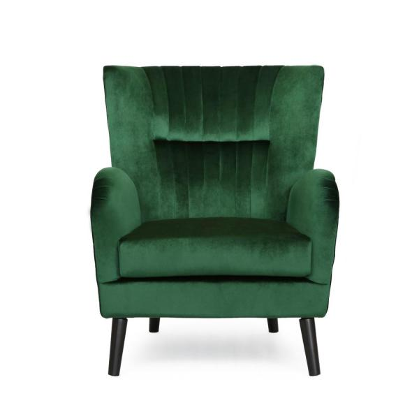 Woodrow Modern Glam Emerald Velvet Club Chair