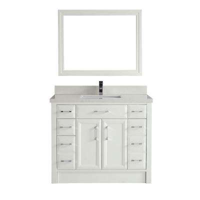 Calais 42 in. Vanity in White with Solid Surface Marble Vanity Top in Carrara White and Mirror