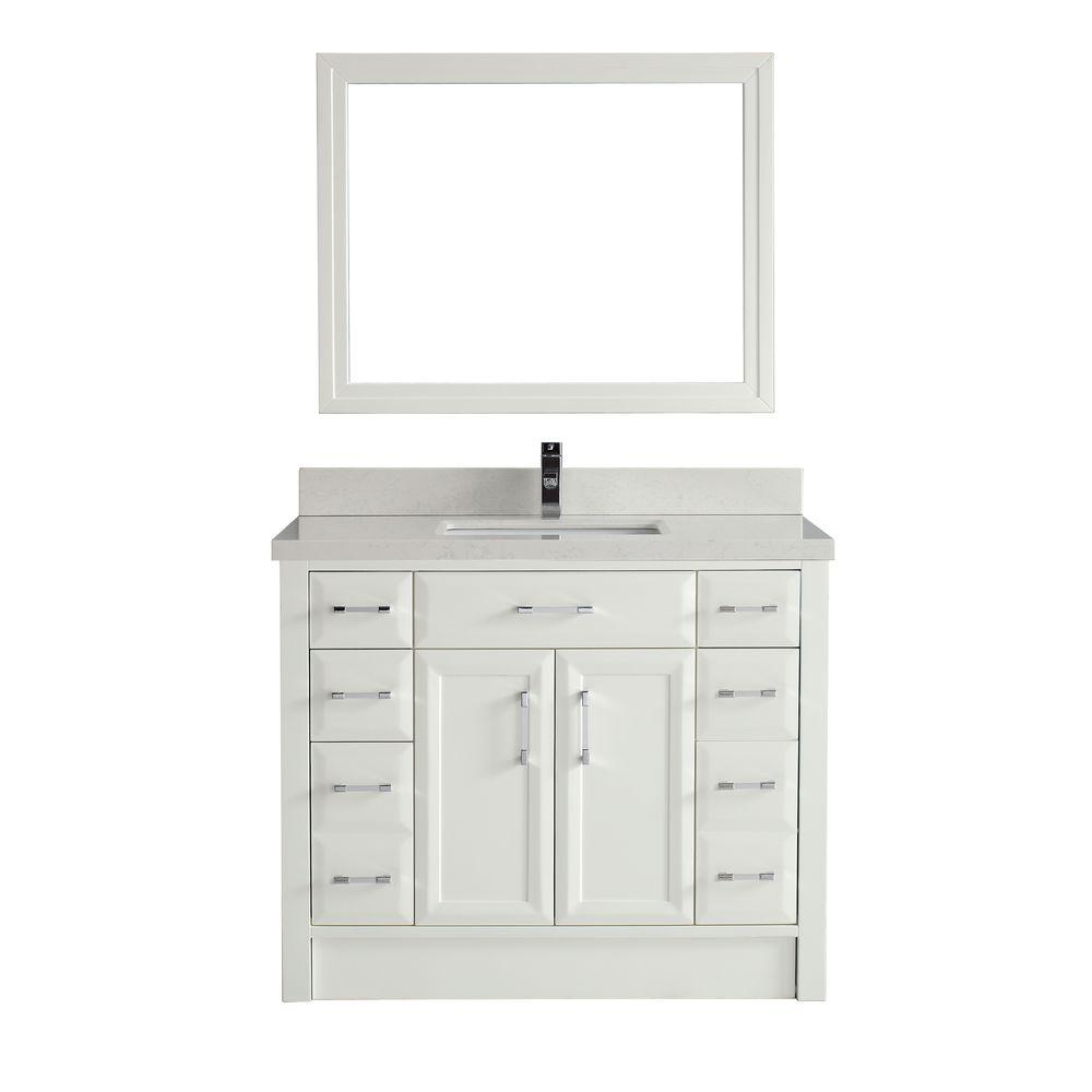 Studio Bathe Calais 42 in. Vanity in White with Solid Surface Marble Vanity Top in Carrara White and Mirror