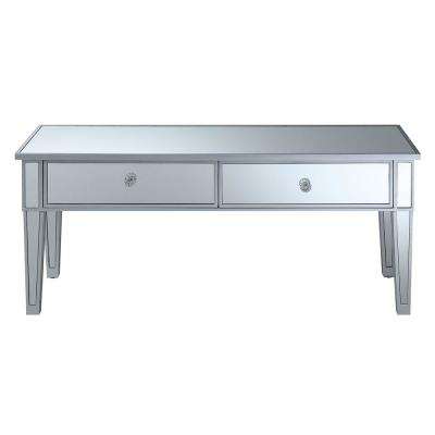 Gold Coast Mirror and Silver Two Drawer Coffee Table