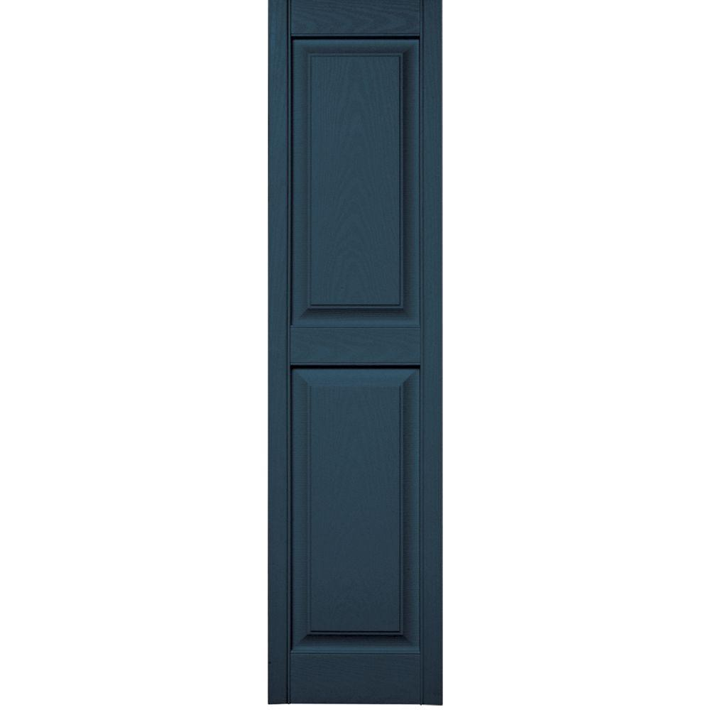 Builders Edge 15 in. x 59 in. Raised Panel Vinyl Exterior Shutters Pair in #036 Classic Blue