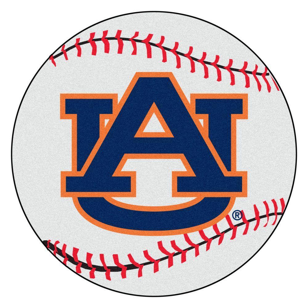 FANMATS NCAA Auburn University AU Logo White 2 ft. Round Indoor Area Rug