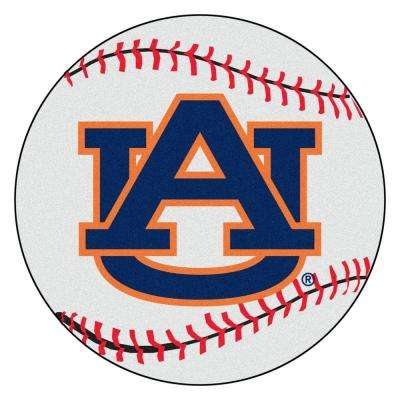 NCAA Auburn University AU Logo White 2 ft. Round Indoor Area Rug