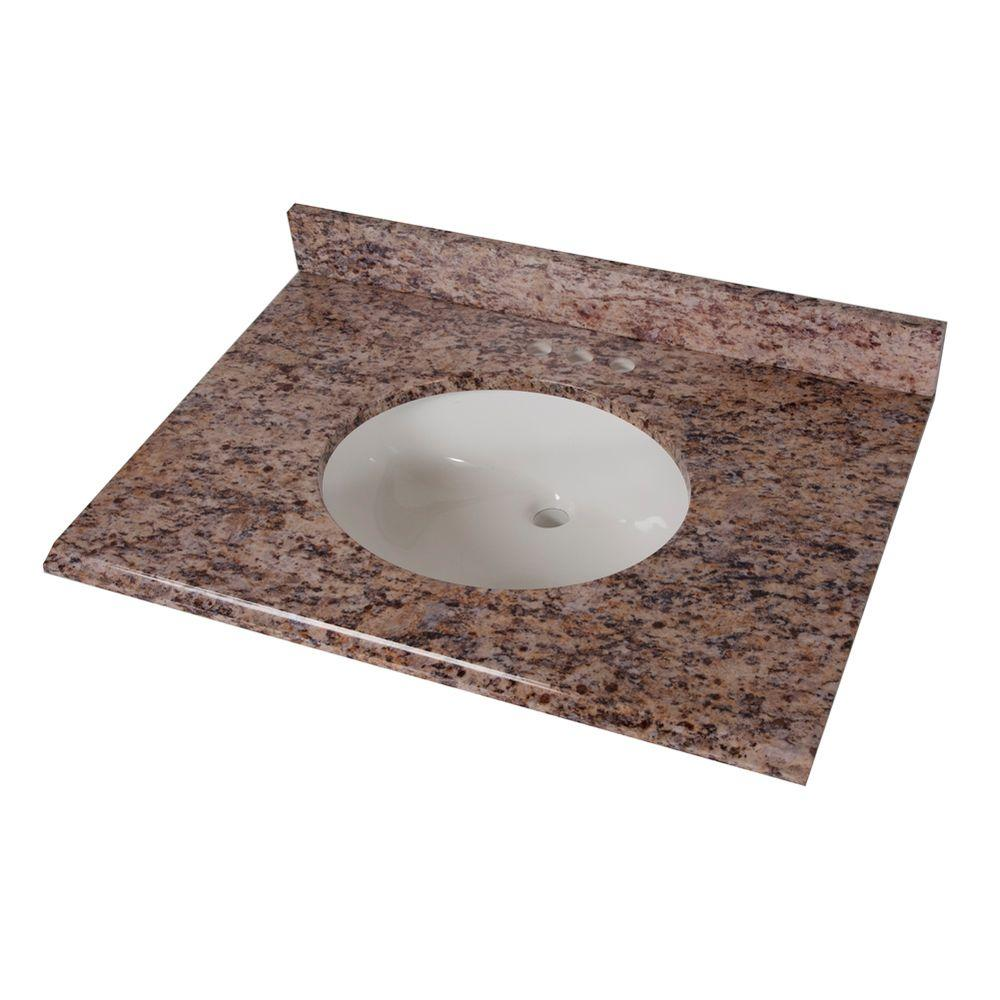 St Paul 31 In Stone Effects Vanity Top Santa Cecilia With White Bowl