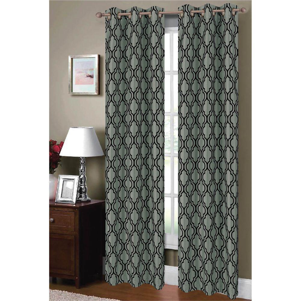 Window Elements Semi-Opaque Lattice Flocked Faux Silk 84 inch L Grommet Curtain Panel Pair, Teal/Black (Set of 2) by Window Elements