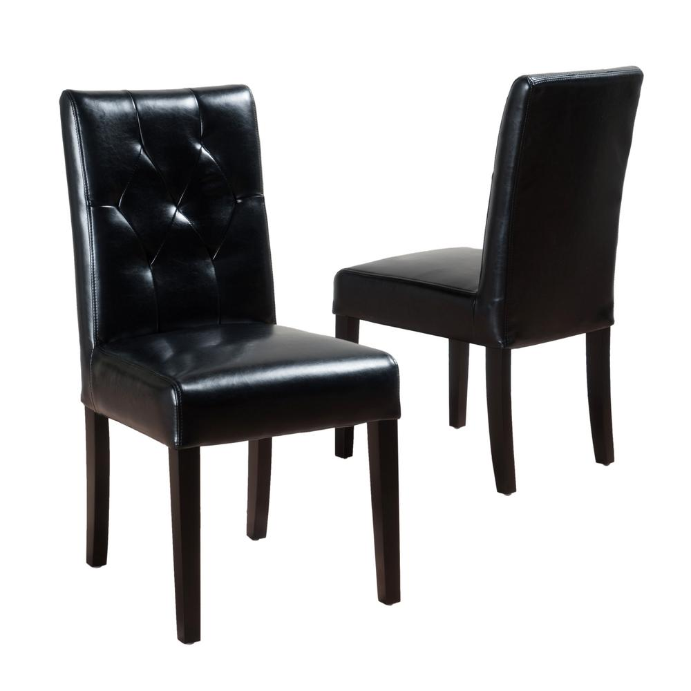 Noble House Gentry Black Bonded Leather Tufted Dining Chair (Set Of 2)