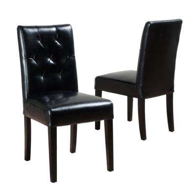 Gentry Black Bonded Leather Tufted Dining Chair (Set of 2)