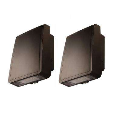 15-Watt Integrated LED Wall Pack with 1600 Lumens, Outdoor Security Lighting (2-Pack)
