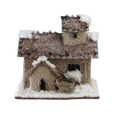 9.25 in. Rustic 2 Story Snowy Cabin Christmas Decoration