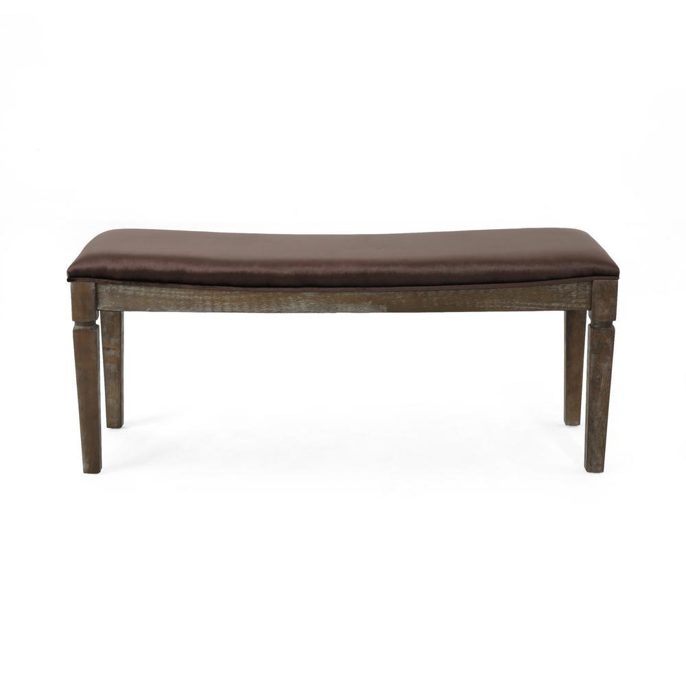 Ophir Chocolate Velvet Bench with Black Walnut Wood Frame
