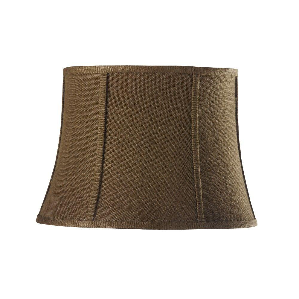 Home Decorators Collection Tapered Dark 18 in. Diameter Dark Natural Burlap Drum Shades