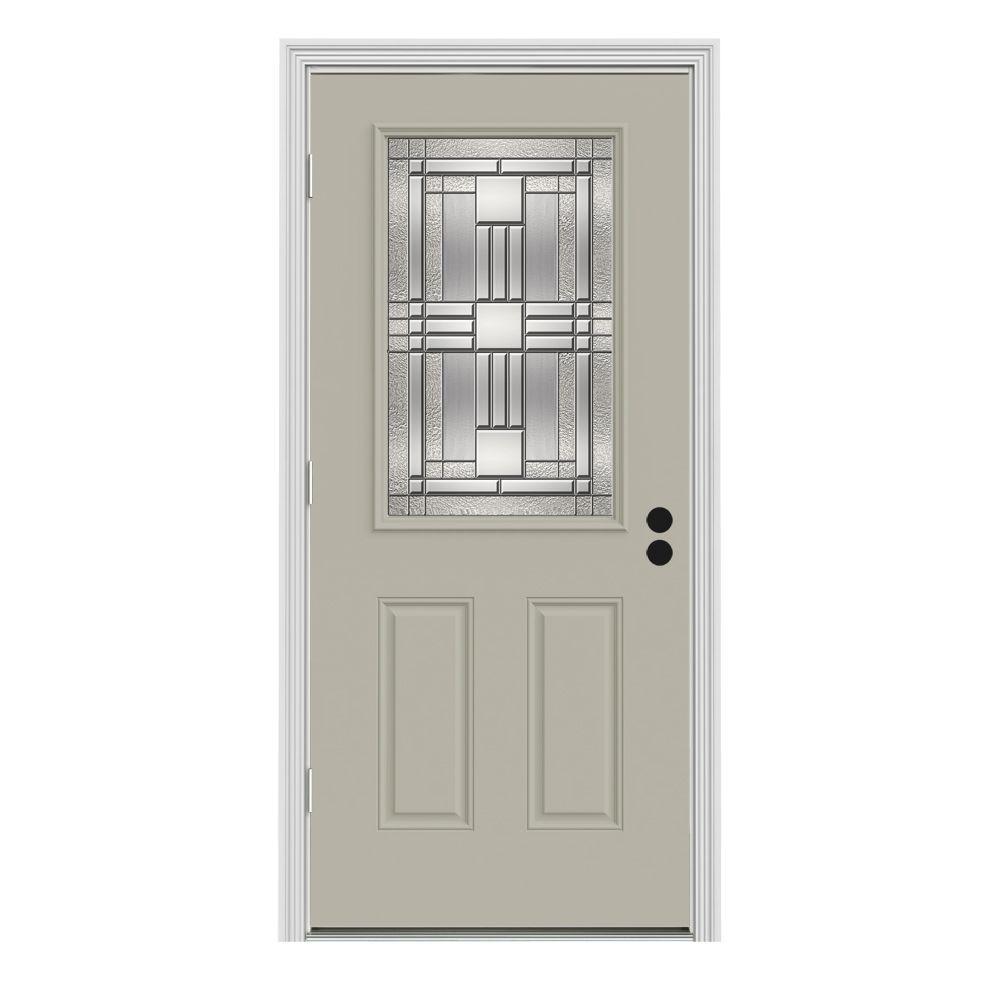 Cordova Classic 1/2 Lite Painted Steel Prehung Front Door with Brickmold