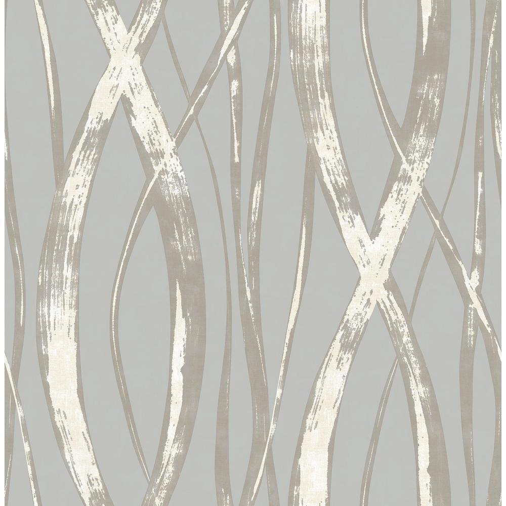 Seabrook Designs Barbados Metallic Silver and Gray Weaving Wallpaper TA21108