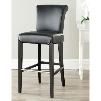 Seth 29.3 in. Black Cushioned Bar Stool