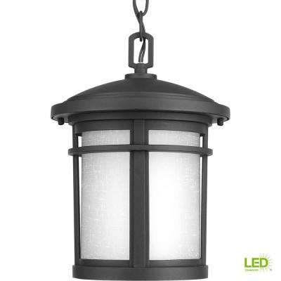 Wish Collection 1-Light Outdoor Textured Black LED Hanging Lantern
