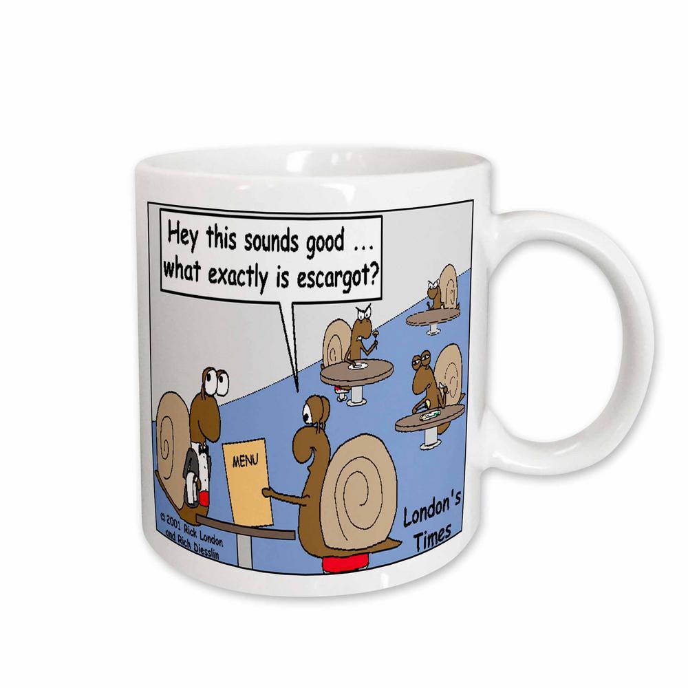 Rich Diesslins Funny Food Coffee Other Digestibles 11 oz. White Ceramic Snail Orders Escargot Mug