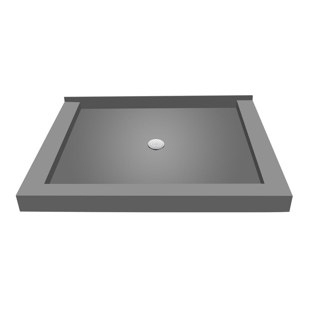 32 in. x 36 in. Triple Threshold Shower Base in Gray