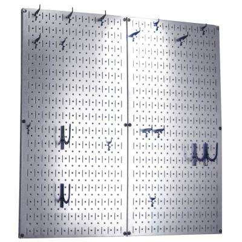 Kitchen Pegboard 32 in. x 32 in. Steel Peg Board Pantry Organizer Kitchen Pot Rack Metallic Pegboard and Blue Peg Hooks