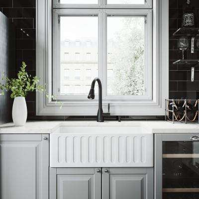 All-in-One 30 in. 0-Hole Farmhouse Kitchen Sink and Graham Matte Black Faucet Set