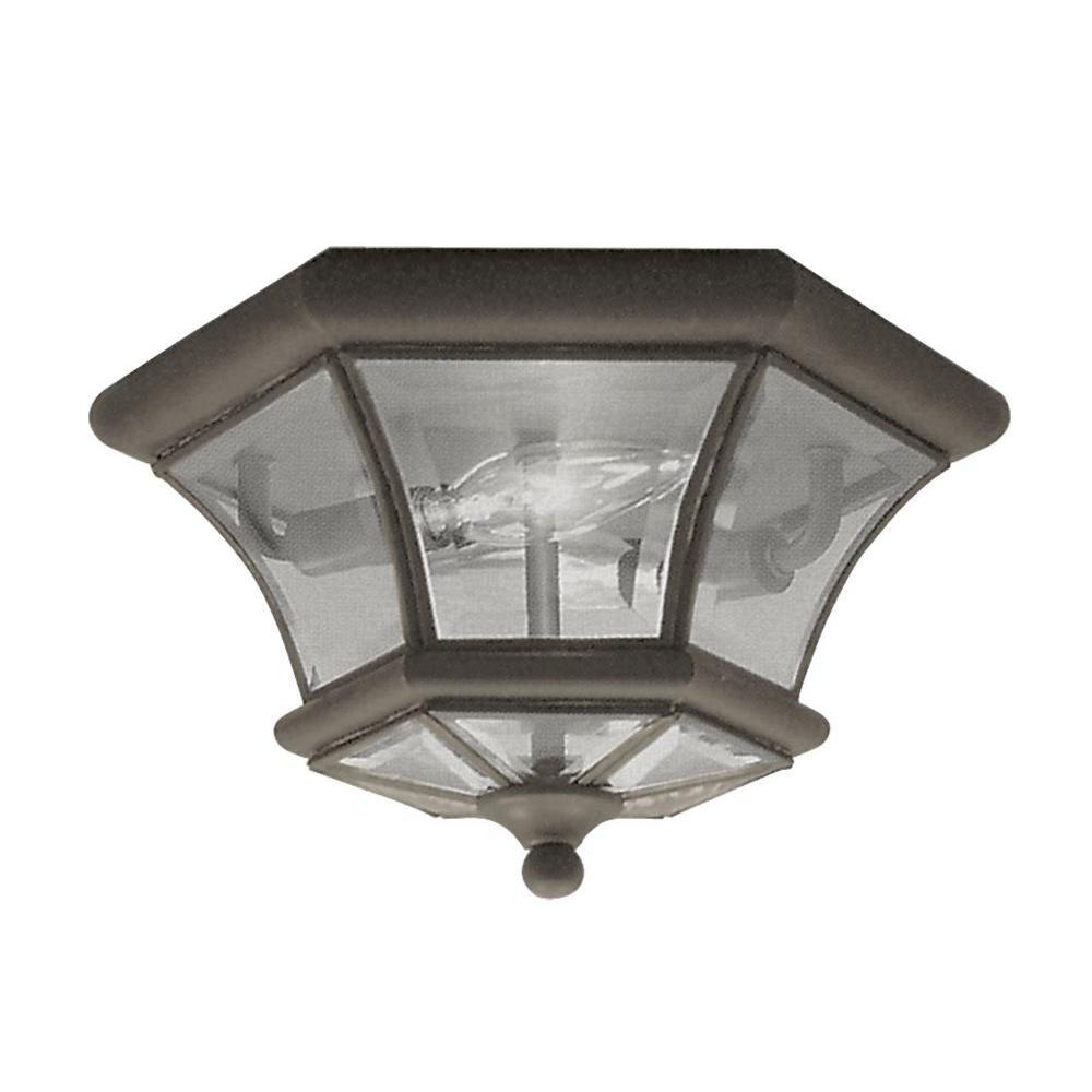 Providence 2-Light 10.5 in. Bronze Clear Beveled Glass Flush Mount