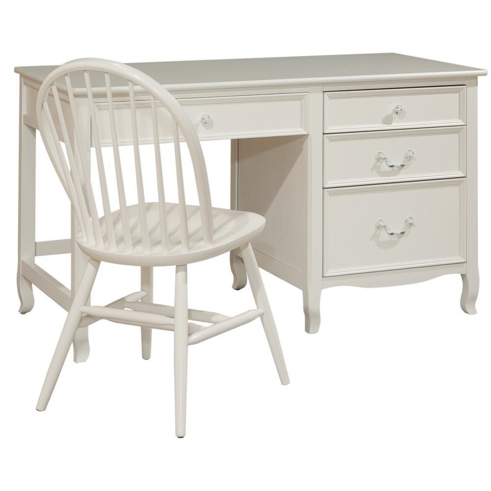 Emma White Pedestal Desk