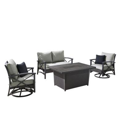 OVE Decors Bentley IV 4-Piece Wicker Patio Fire Pit Conversation Set with Grey Olefin Cushions